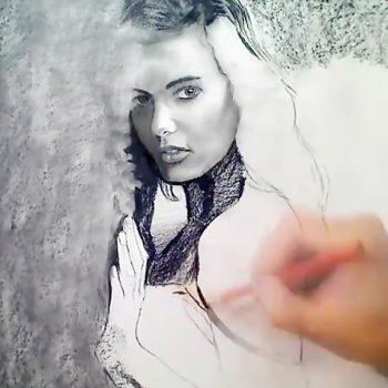 ویدئویی از نقاشی زیبا با سیاه قلم مو ویدئویی از نقاشی زیبا با سیاه قلم مو                                                   350x350