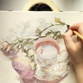 نقاشی زیبا از طبیعت بی جان با آبرنگ نقاشی زیبا از طبیعت بی جان با آبرنگ                                         350x350