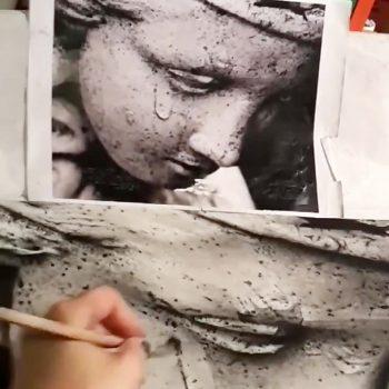 نقاشی زیبای سیاه قلم مو نقاشی زیبای سیاه قلم مو                                 350x350