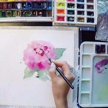نقاشی زیبا از دسته گل با آبرنگ نقاشی زیبا از دسته گل با آبرنگ                                                        350x350
