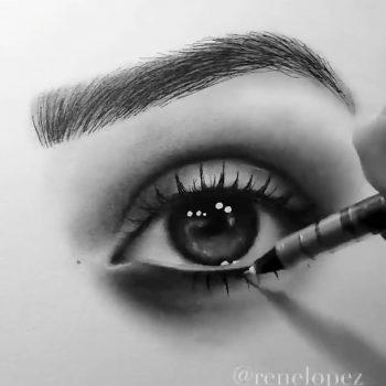 چطور چشمان قوی داشته باشیم نقاشی زیبا از مدل چشم و ابرو                                                    350x350