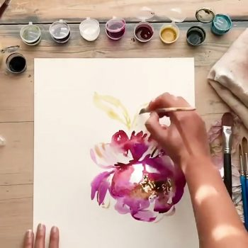 نقاشی زیبا از دسته گل با آبرنگ نقاشی زیبا از گل با گواش                               350x350