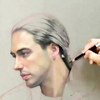 نقاشی پرتره به سبک رئالیسم یک نقاشی زیبا از چهره با مداد رنگی                                350x350