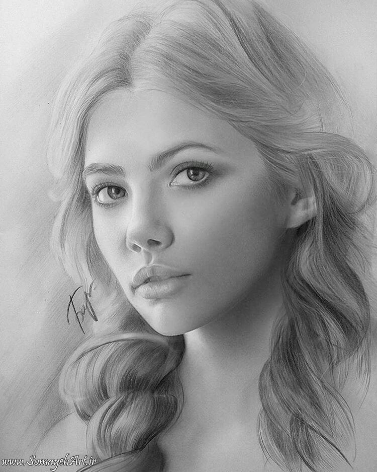 مدل نقاشی چهره زن سیاه قلم – پارت 2