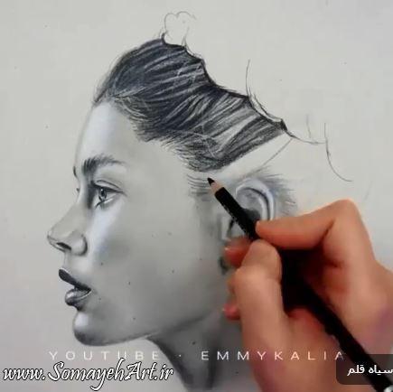 نقاشی چهره نیم رخ سیاه قلم